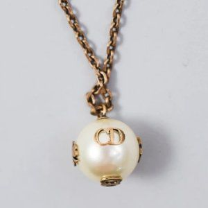 Christian Dior Gold and Faux Pearl Necklace